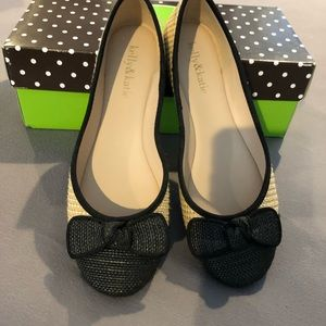 Kelly & Katie natural/black flats with bow